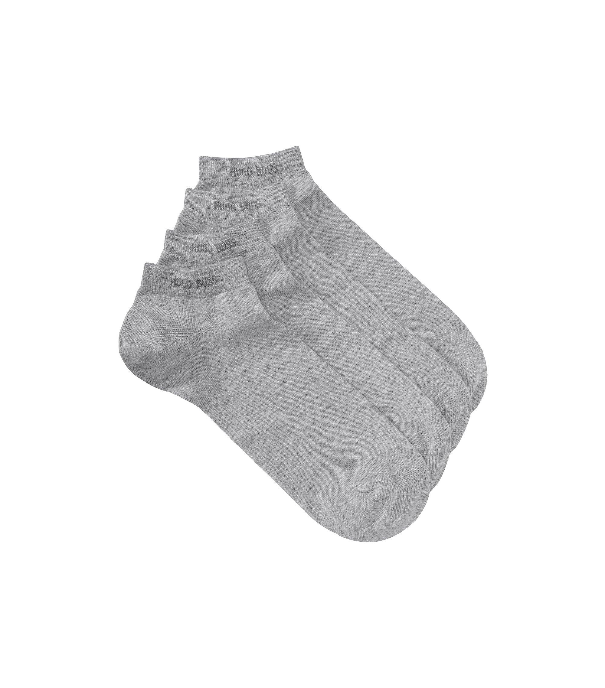 Doppelpack Sneaker-Socken aus elastischem Baumwoll-Mix, Silber