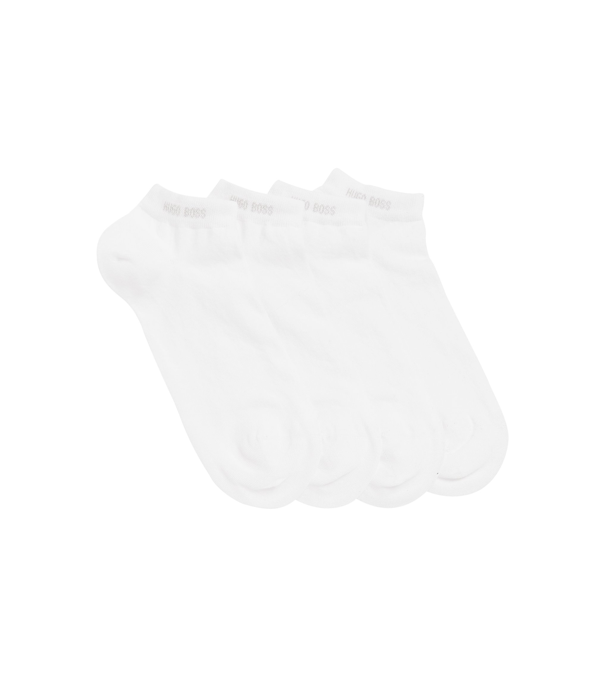 Two-pack of ankle socks in cotton blend, White