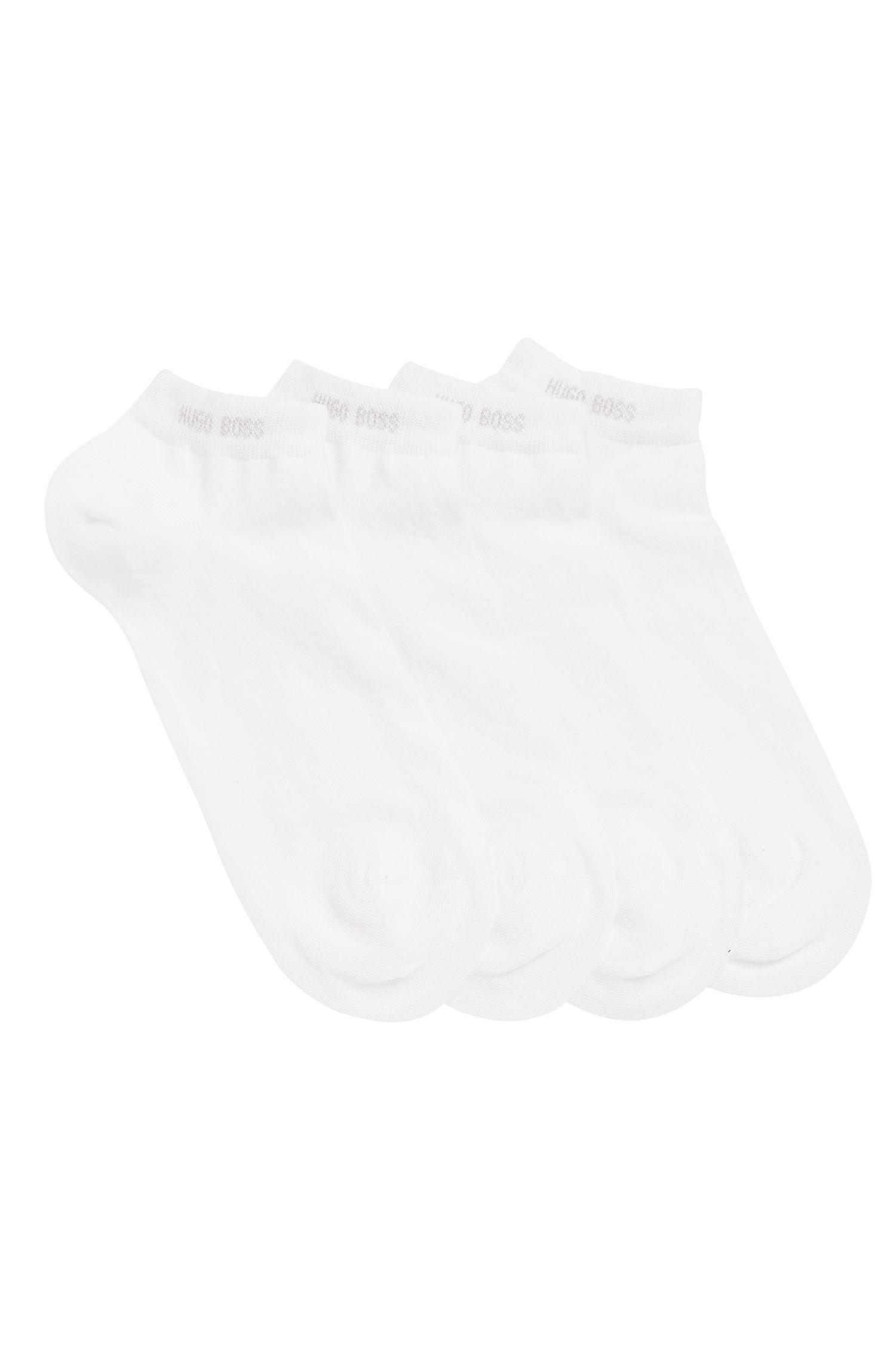 Set van twee paar enkelsokken van een katoenmix, Wit
