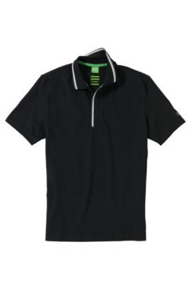 Polo de golf Regular Fit en coton extensible : « Pasey », Noir