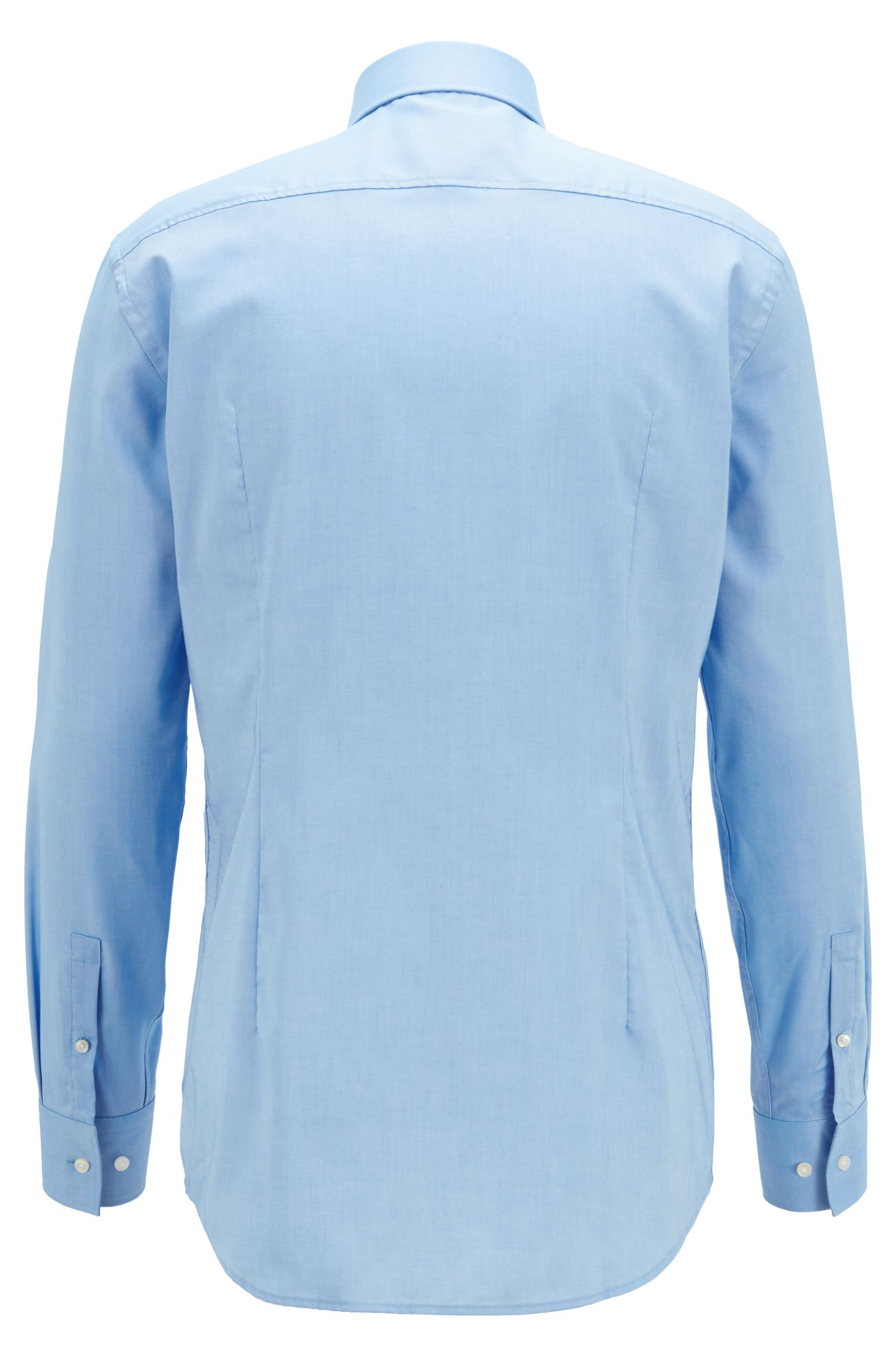 Slim-Fit Hemd aus Baumwolle mit schimmernden Knöpfen, Blau
