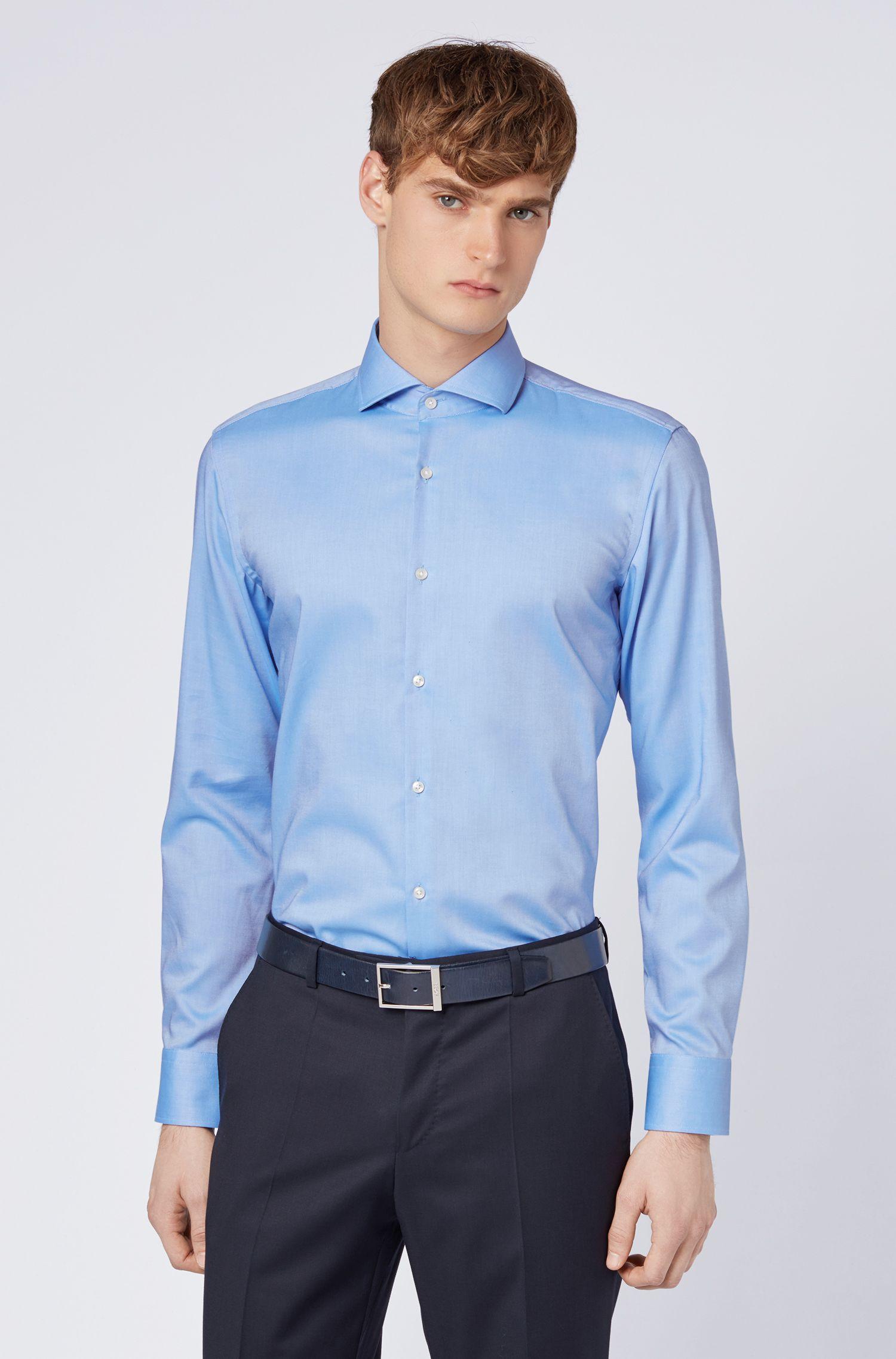 Chemise Slim Fit en coton, avec boutons à l'aspect nacré, Bleu