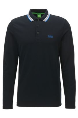 Polo Regular Fit en piqué de coton, Noir