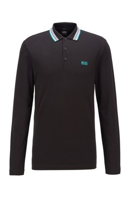 Regular-fit polo in brushed piqué cotton, Black