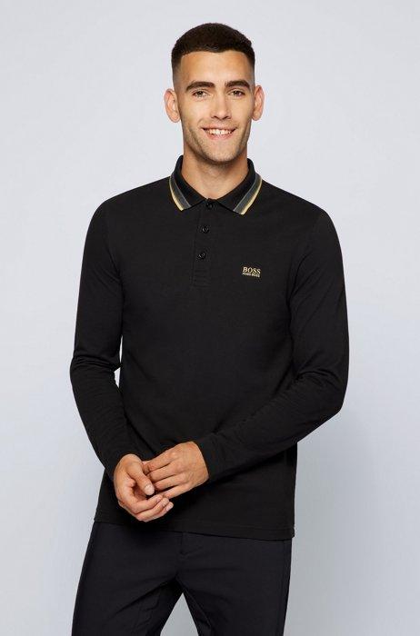 Polo Regular Fit en piqué de coton, Noir