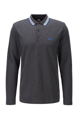 Regular-fit polo in brushed piqué cotton, Dark Grey