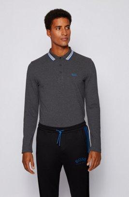 Regular-Fit Poloshirt aus Baumwoll-Piqué, Dunkelgrau