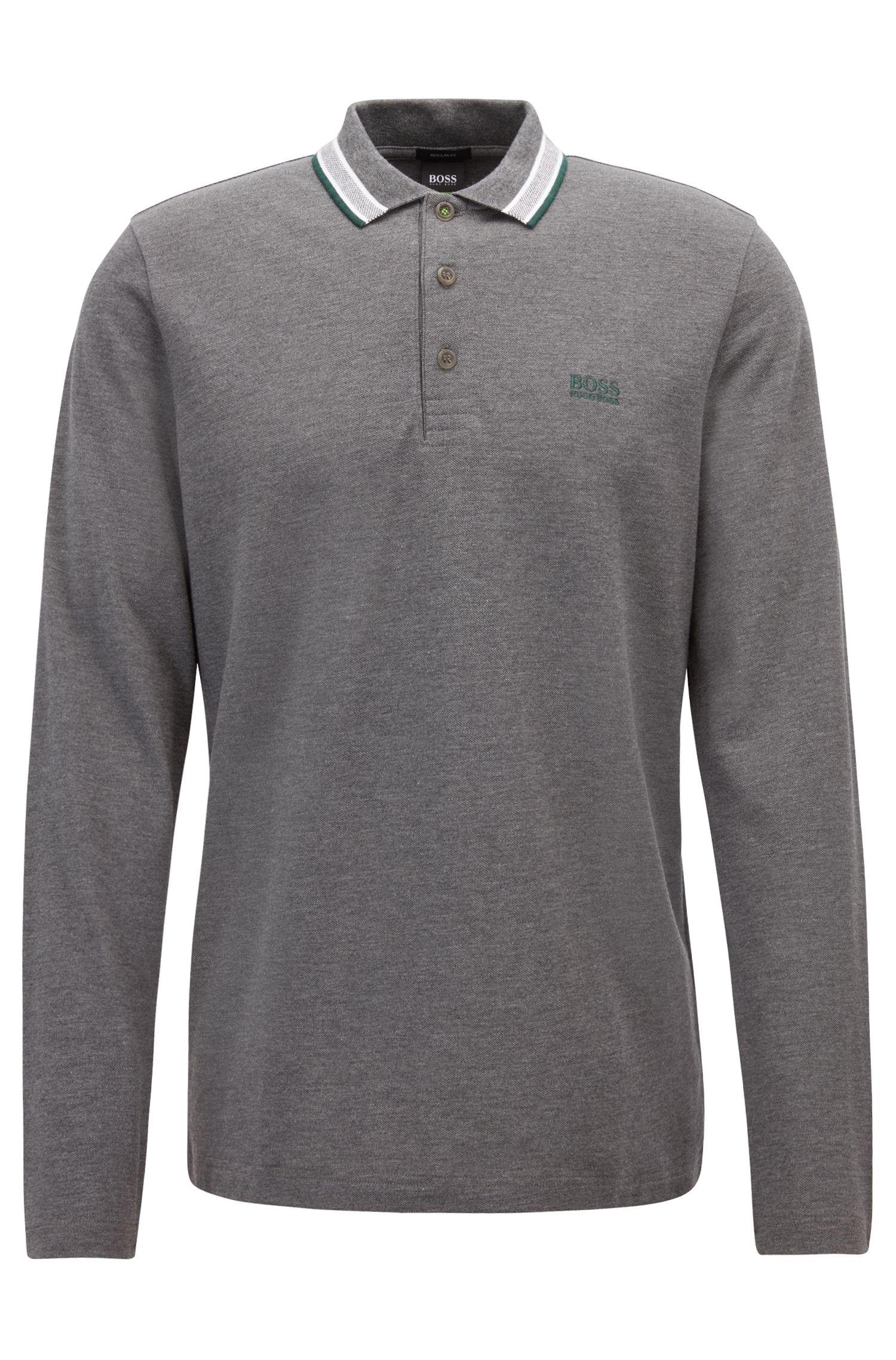 Regular-Fit Poloshirt aus Baumwoll-Piqué, Grau