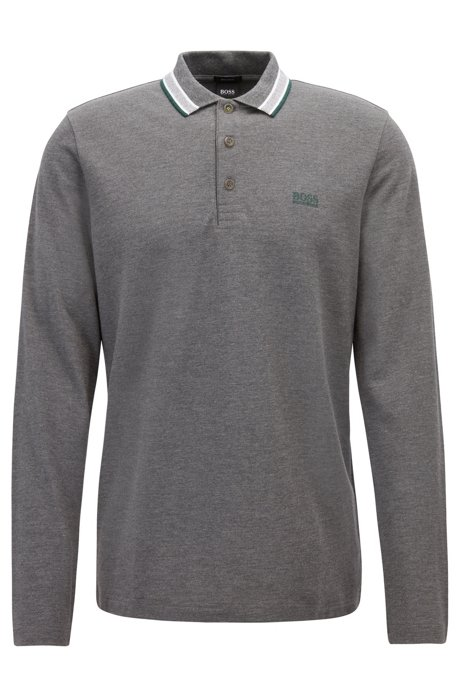 Regular-fit polo in piqué cotton, Grey
