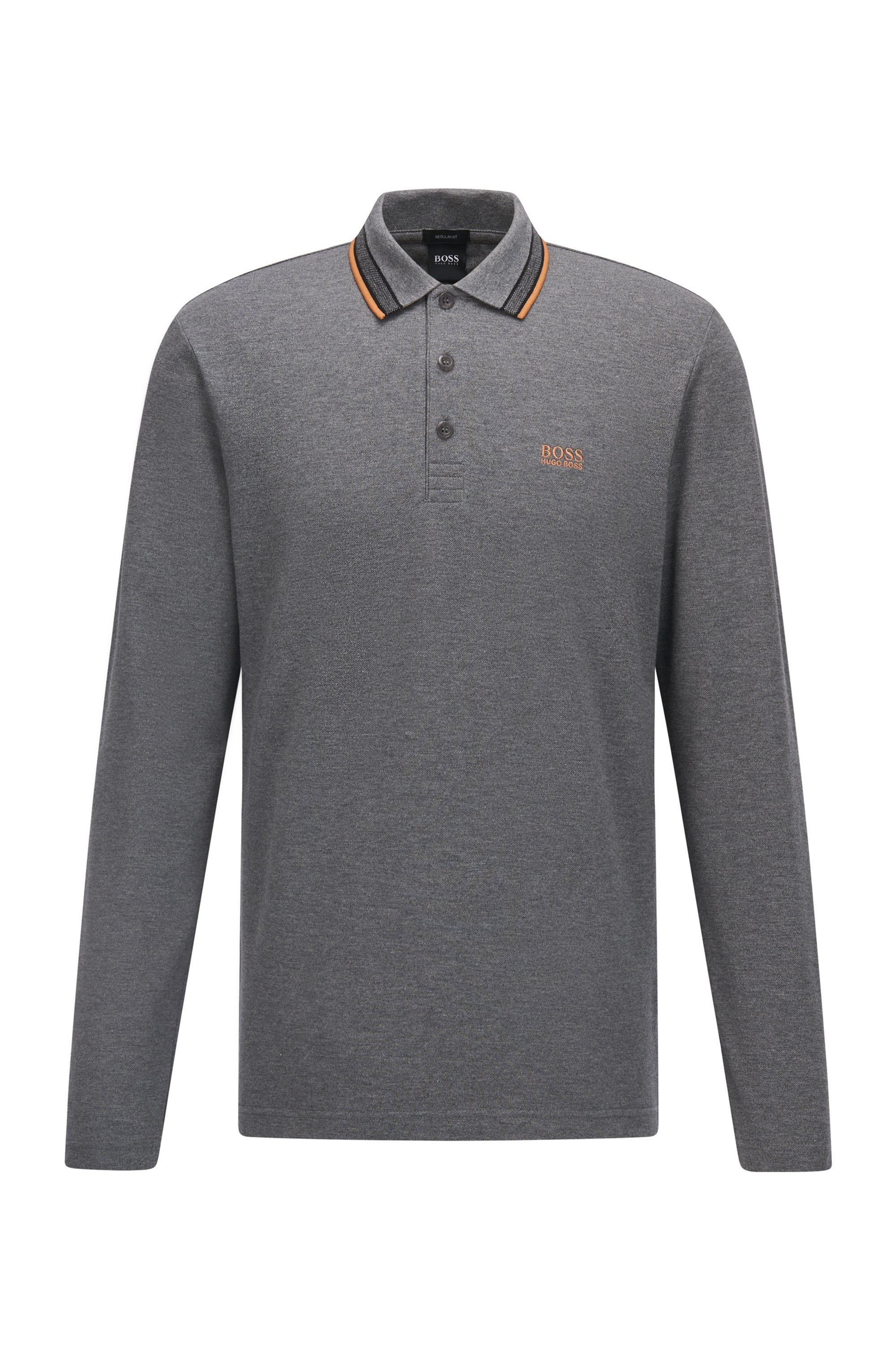 Regular-fit polo in brushed piqué cotton, Grey