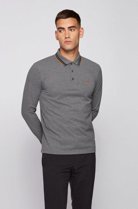 Piqué-cotton polo shirt with embroidered logo, Grey