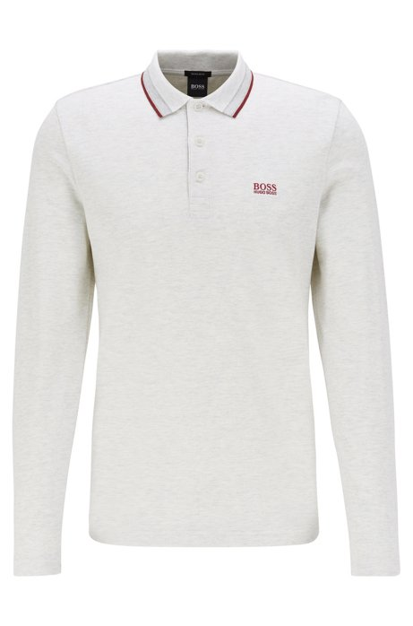 Regular-fit polo in piqué cotton, Light Grey