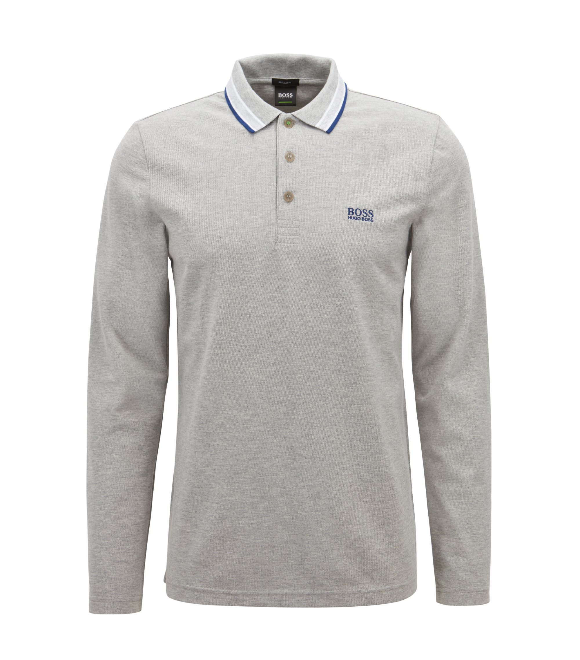 Polo Regular Fit en piqué de coton, Gris chiné