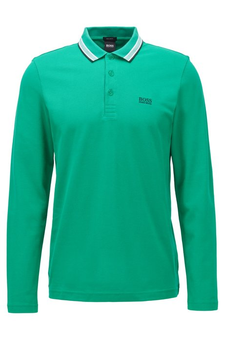 Polo regular fit in piqué di cotone, Verde