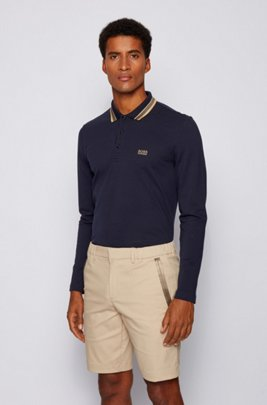 Regular-fit polo in brushed piqué cotton, Dark Blue