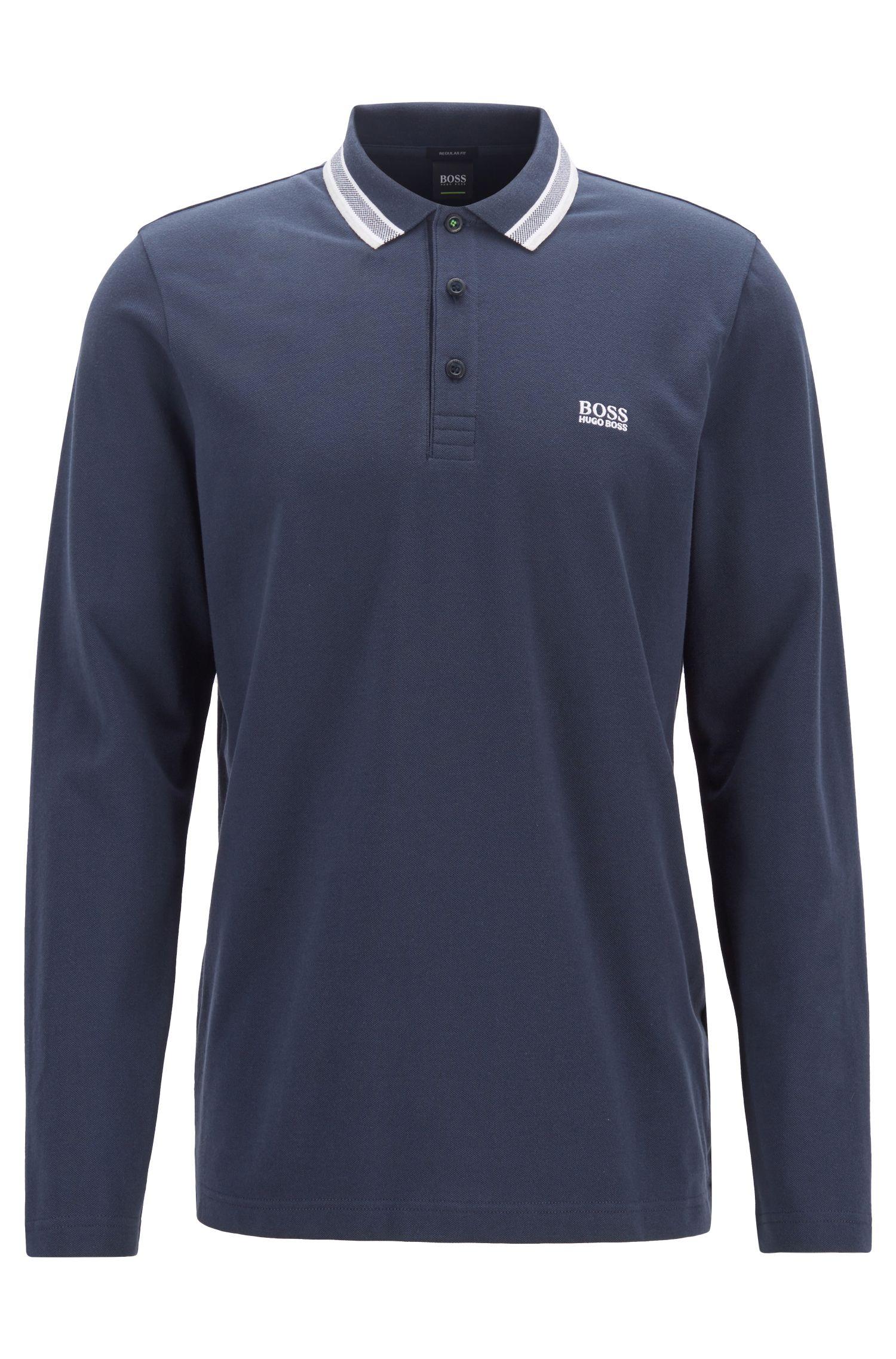Regular-fit polo in piqué cotton, Dark Blue