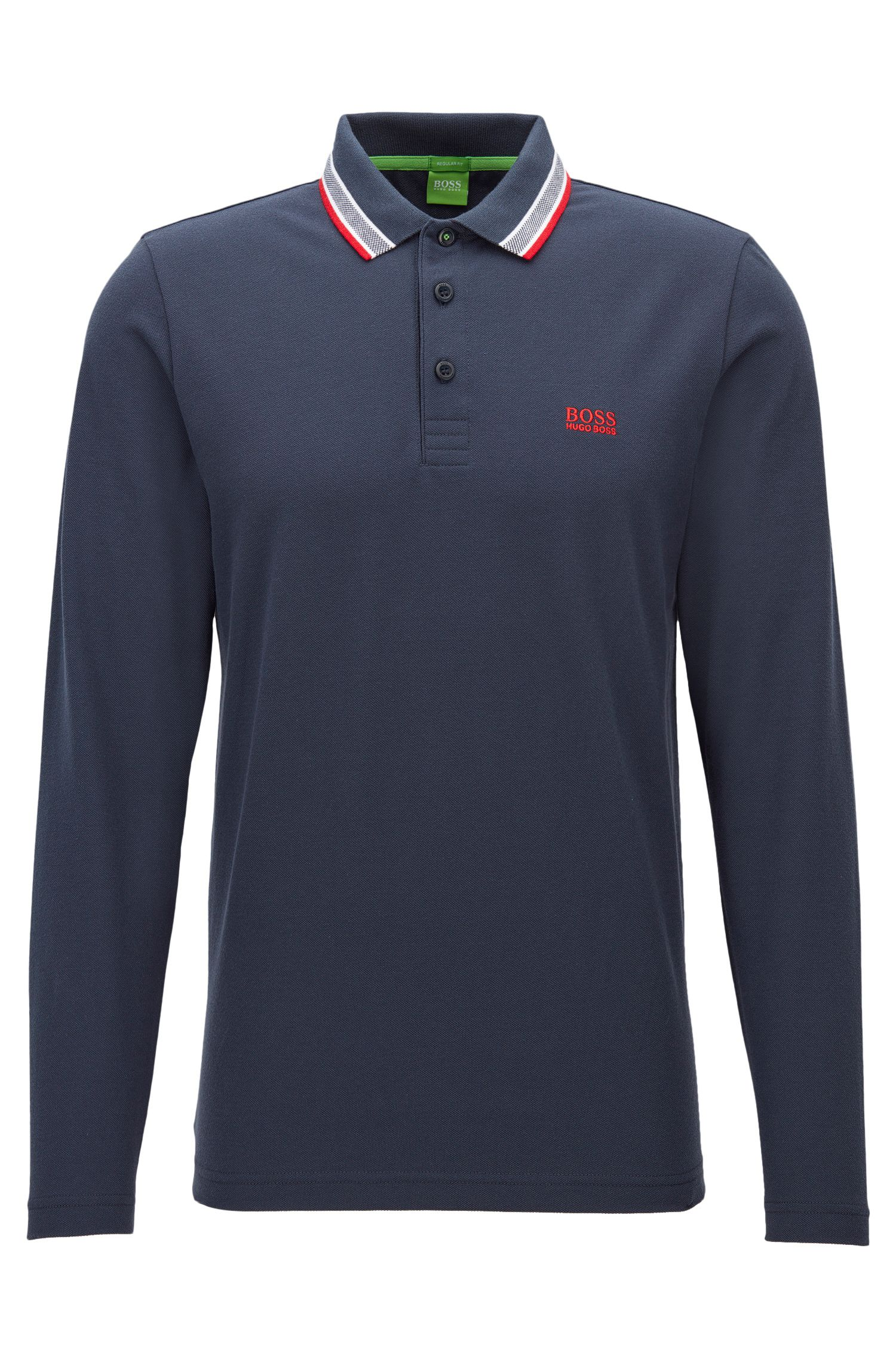 Regular-fit polo in piqué cotton