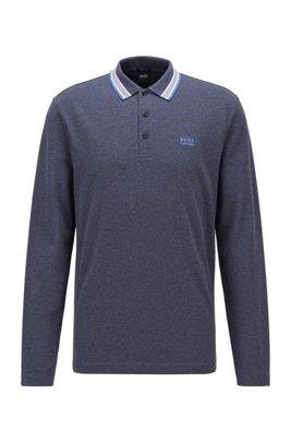 Polo Regular Fit en piqué de coton, Bleu foncé