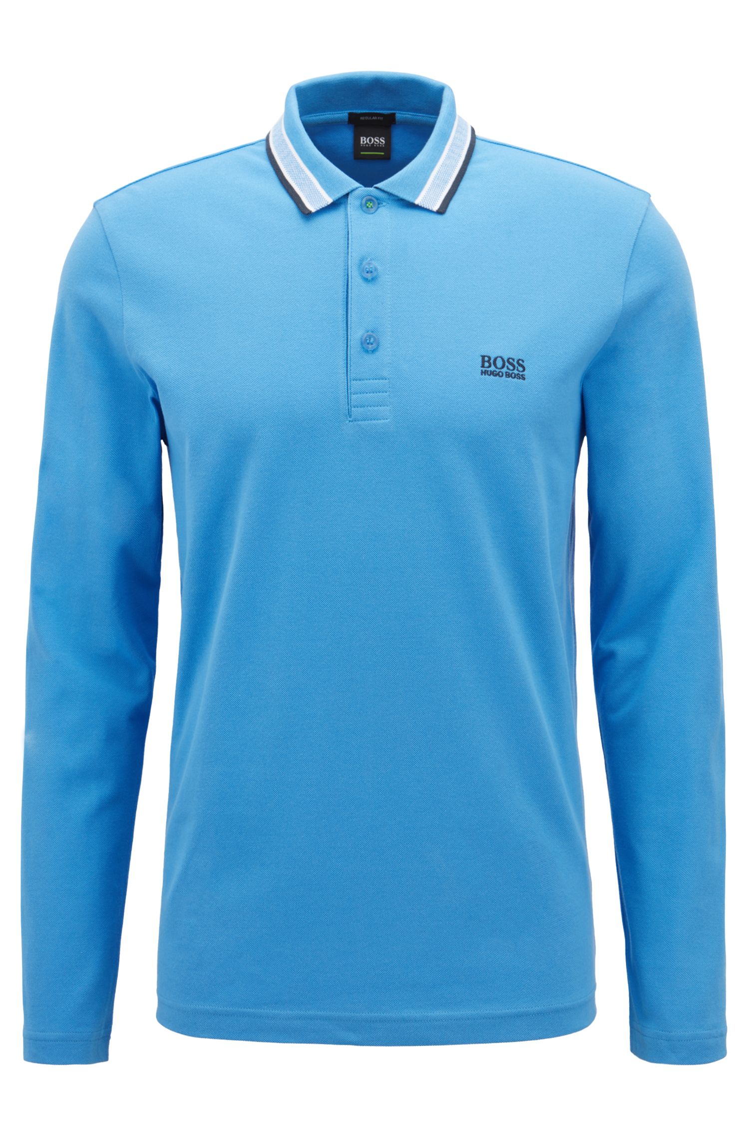 Polo Regular Fit en piqué de coton, Bleu