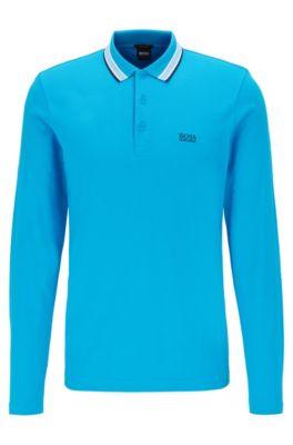 Regular-fit polo in piqué cotton, Blue