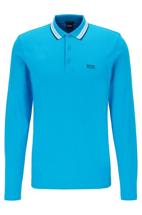 Regular-fit polo in piqué cotton, Blue
