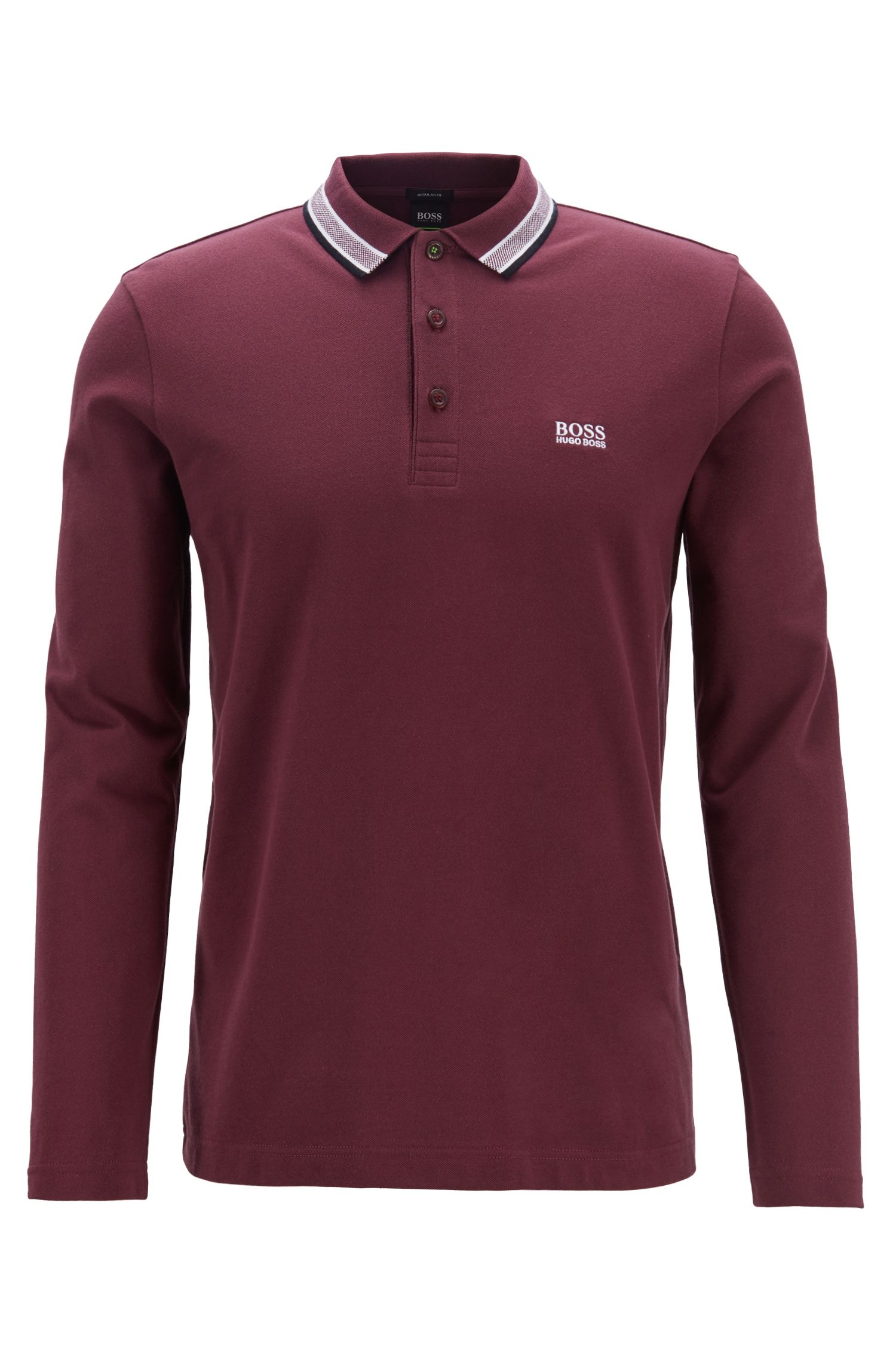 Regular-fit polo in piqué cotton, Open Red