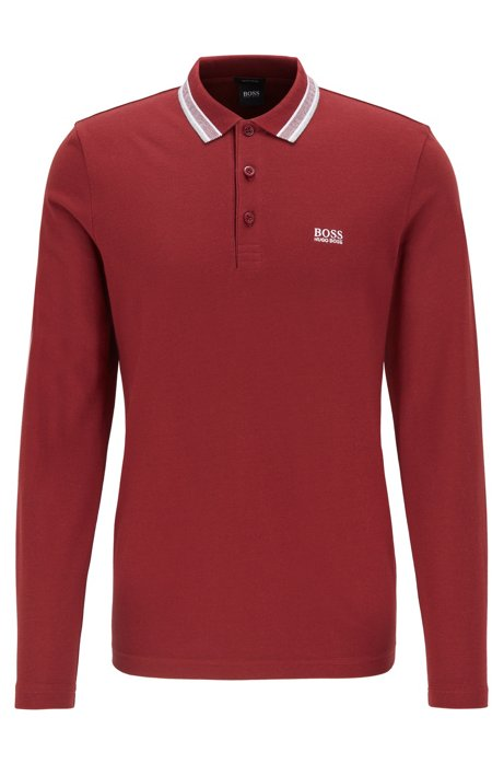 Polo regular fit en piqué de algodón, Rojo