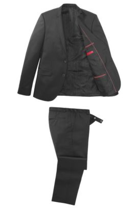 Costume Extra Slim Fit «Adris1/Heibo2» en laine vierge, Noir