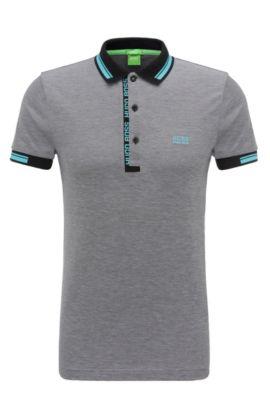 Slim-Fit Poloshirt aus Baumwollpiqué, Schwarz