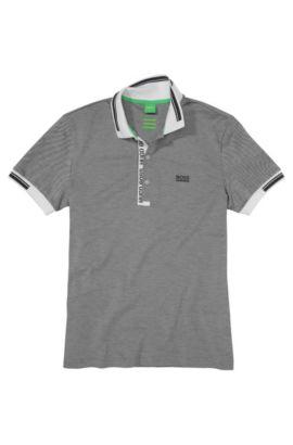 Slim-Fit Poloshirt aus Baumwollpiqué, Grau