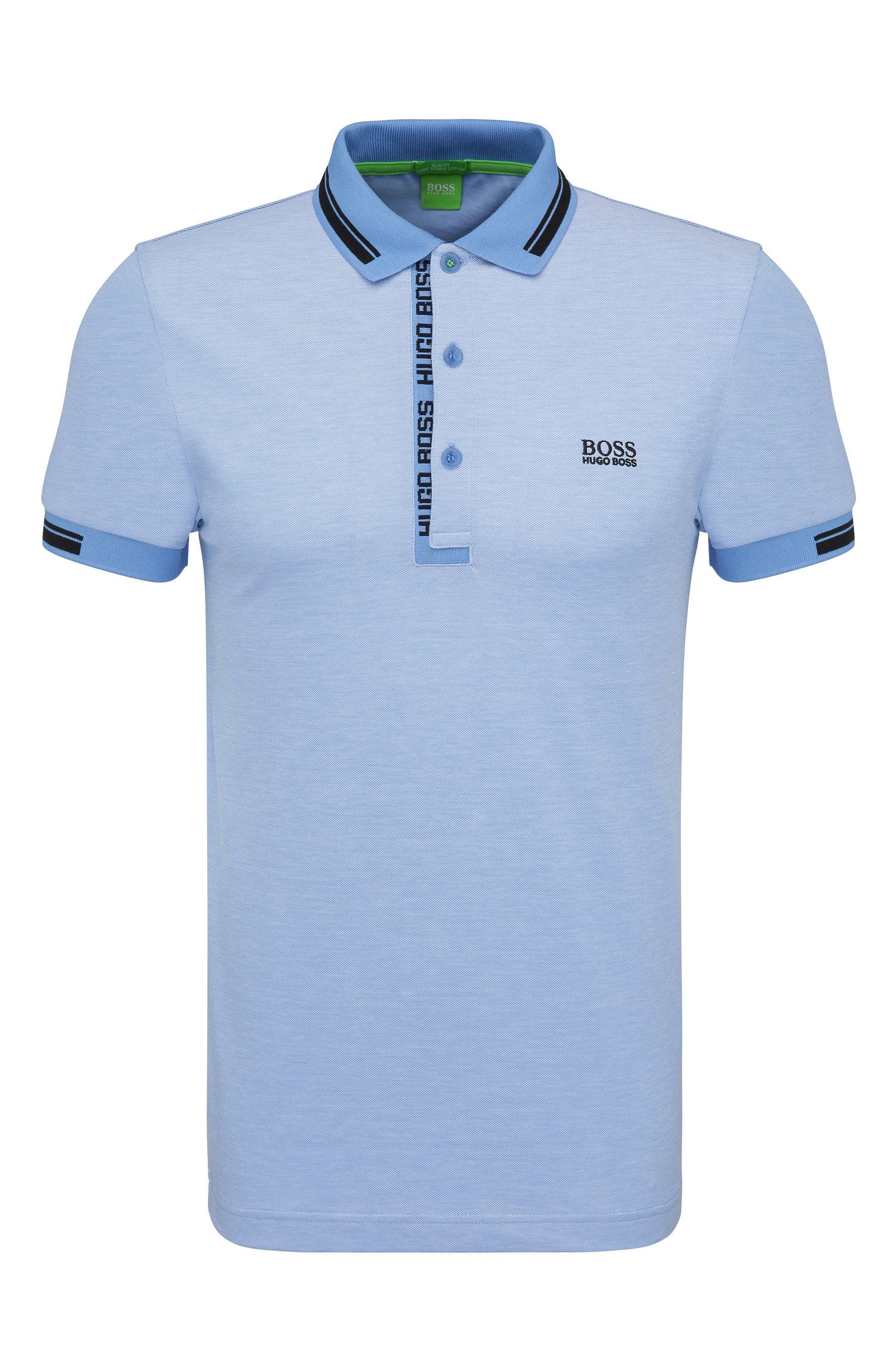 Slim-fit polo shirt in cotton piqué: