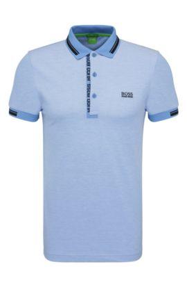 Polo Slim Fit en maille piquée de coton:, Bleu