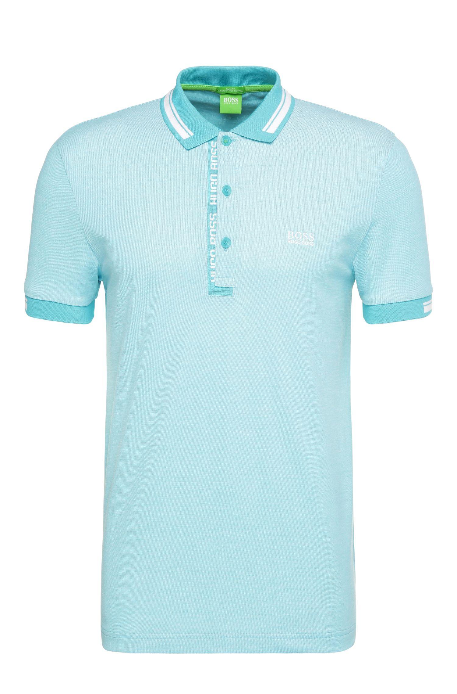 Slim-fit polo shirt in cotton piqué:
