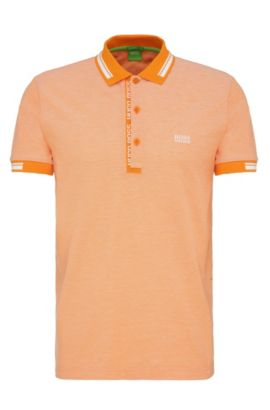 Polo slim fit in piqué di cotone, Arancio chiaro
