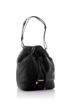 Kordelzugtasche ´Malinda-G` aus Leder, Schwarz