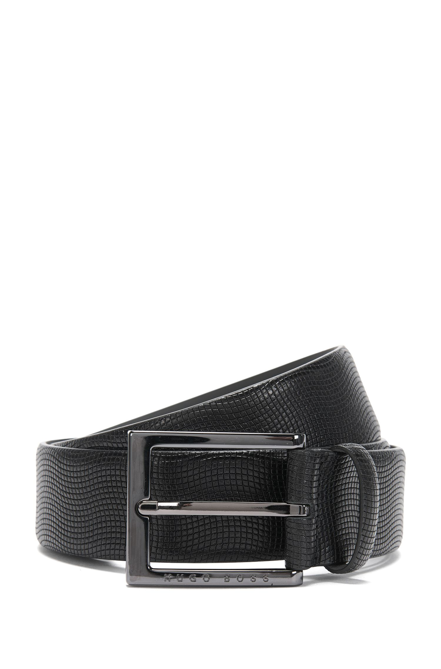 Belt in textured leather: 'Perries'