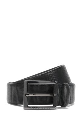 Belt in textured leather: 'Perries', Black
