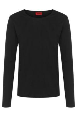 T-shirt à manches longues Relaxed Fit, en coton: «Doops», Noir