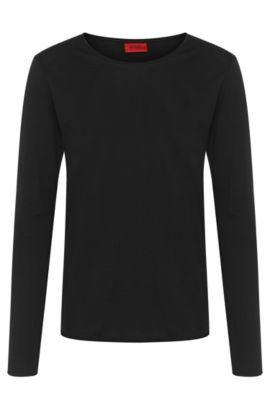 Relaxed-fit long-sleeved shirt in cotton: 'Doops', Black