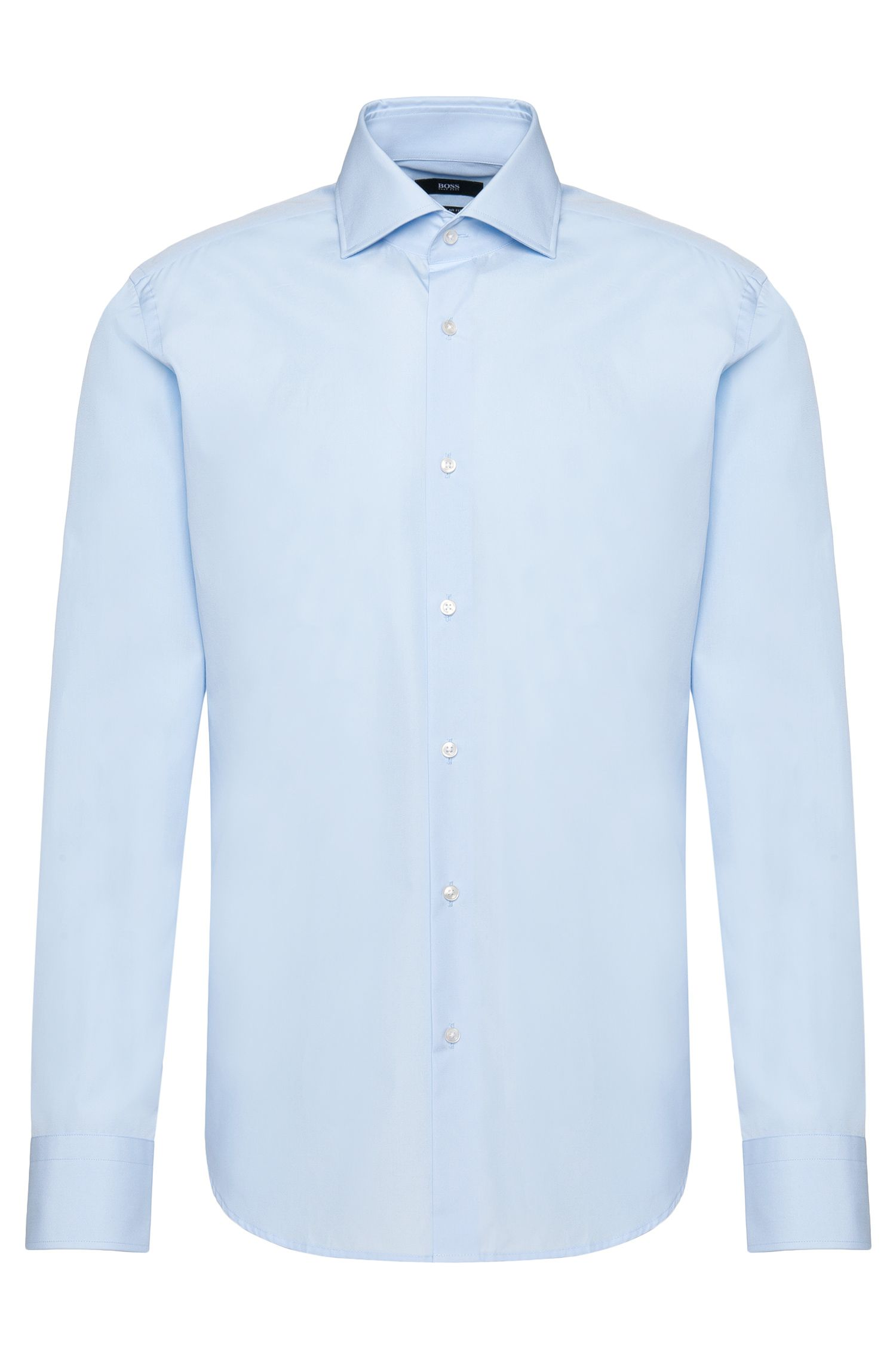 Plain regular-fit shirt in cotton: 'Gerald'