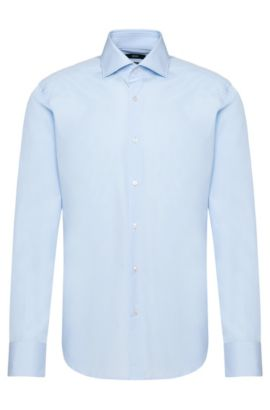 Plain regular-fit shirt in cotton: 'Gerald', Light Blue