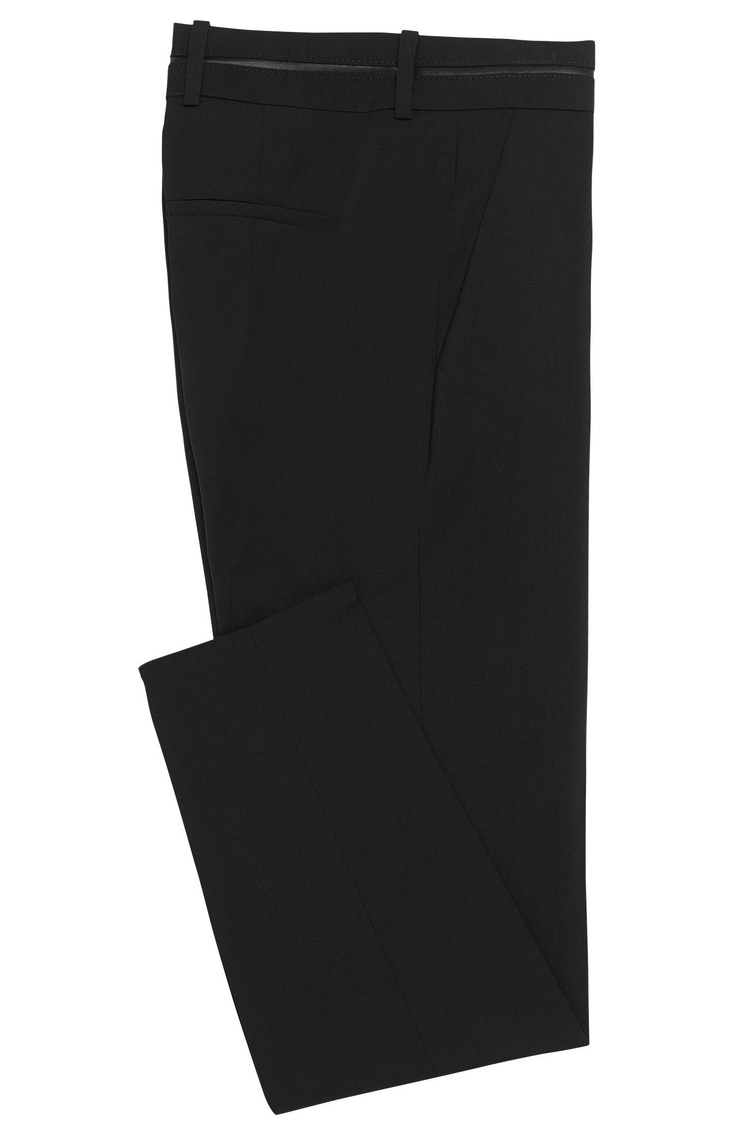 Slim-fit trousers with piped waistband
