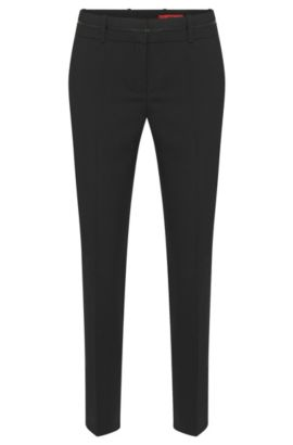 Slim-fit trousers with piped waistband by HUGO Woman, Black