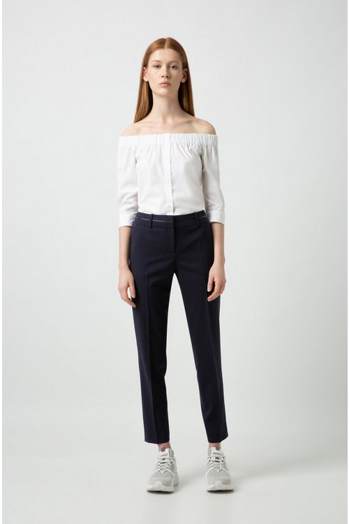 Hugo Boss - Slim-fit trousers with piped waistband - 2