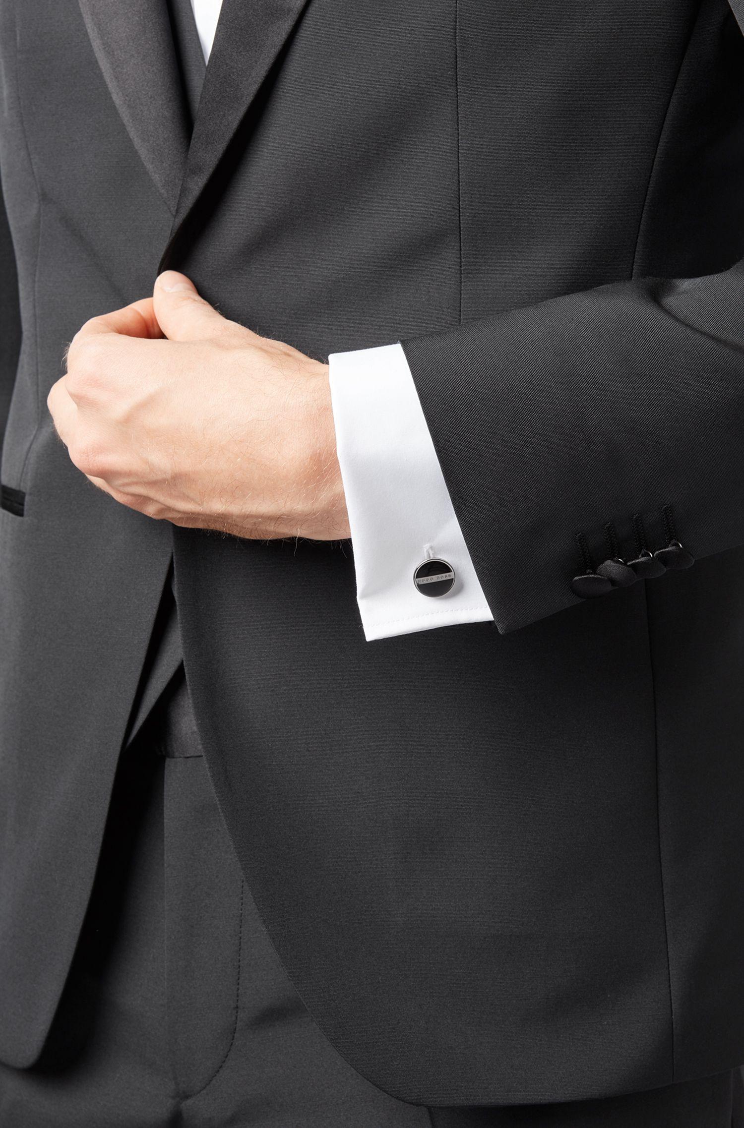 Round cufflinks with enamel core, Black