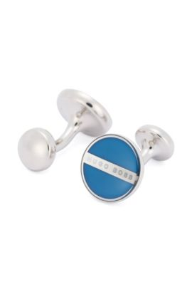Round cufflinks with enamel core, Turquoise