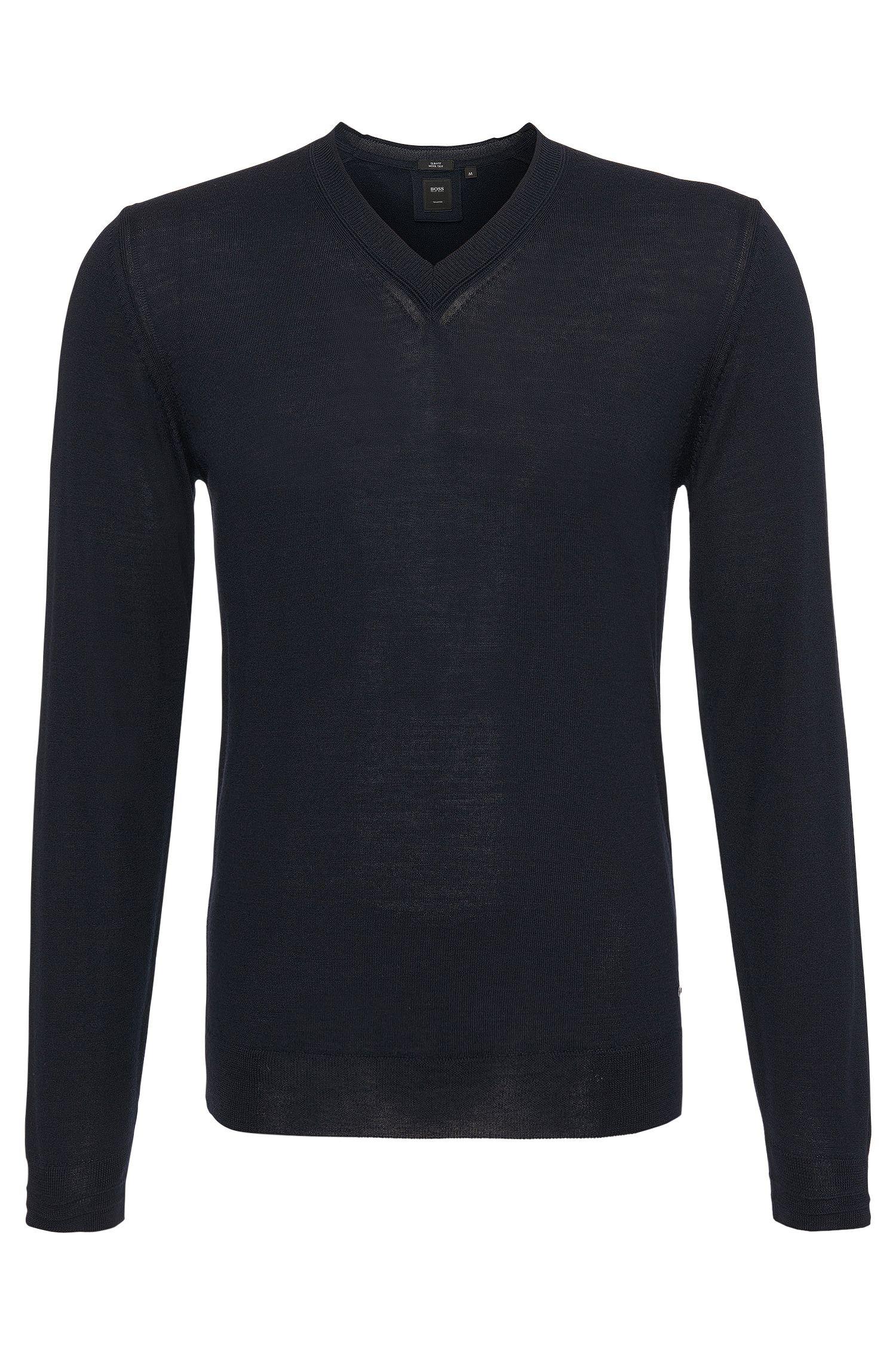 Pullover in maglia a trama fine Slim-Fit in lana vergine con percentuale di seta: 'T-Dan'