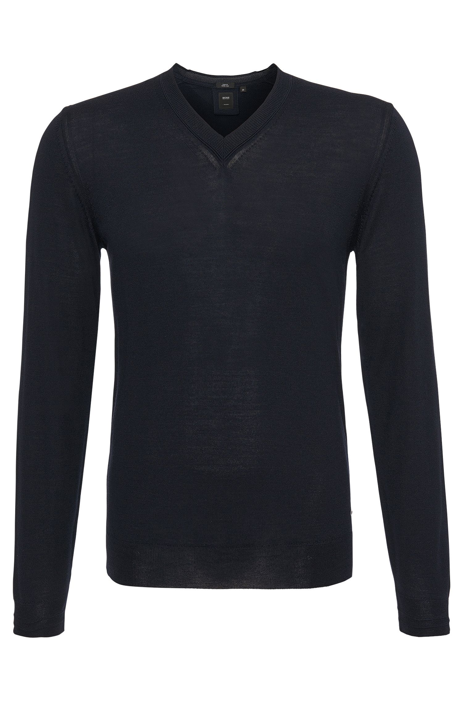 Jersey de punto fino slim fit en lana virgen con parte de seda: 'T-Dan'