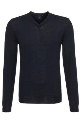 Slim-Fit Feinstrick-Pullover aus Schurwolle mit Seiden Anteilen: 'T-Dan', Dunkelblau