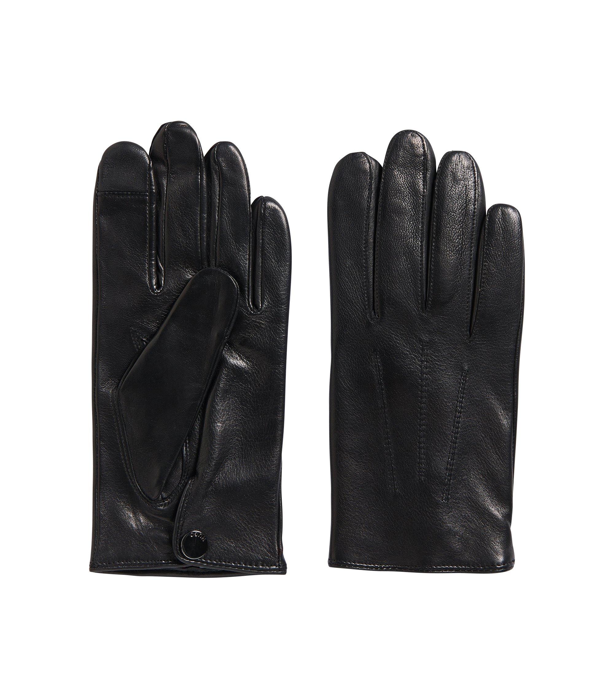 Touchscreen-Handschuhe aus Nappaleder mit Innenfutter aus Kaschmir, Schwarz